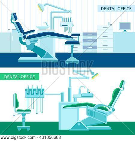 Dental Room Horizontal Banner Set With Medical Equipment For Teeth Cure Flat Vector Illustration