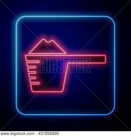 Glowing Neon Washing Powder In A Measuring Cup Icon Isolated On Blue Background. Vector