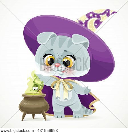 Cute Cartoon Baby Cat In The Wizard's Hat And Cloak Brews A Potion From Green Frog In Cauldron Isola