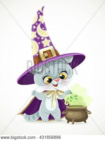 Cute Cartoon Baby Cat In The Wizard's Hat And Cloak Brews A Potion In Cauldron Isolated On White Bac