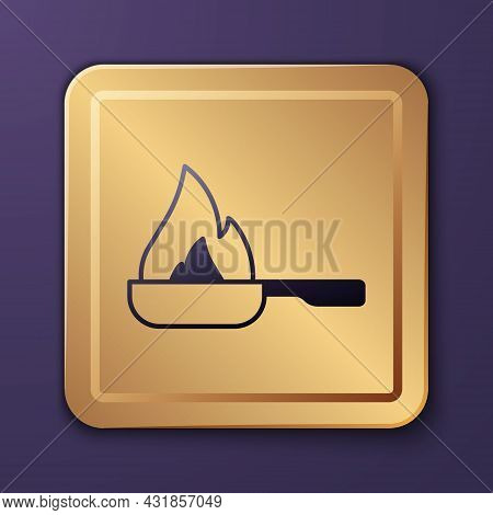 Purple Frying Pan Icon Isolated On Purple Background. Fry Or Roast Food Symbol. Gold Square Button.