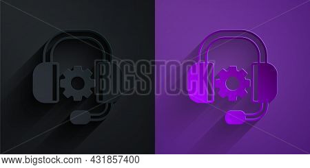 Paper Cut Headphones Icon Isolated On Black On Purple Background. Support Customer Service, Hotline,