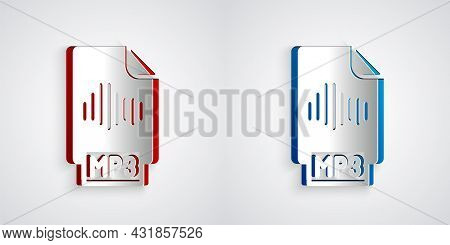 Paper Cut Mp3 File Document. Download Mp3 Button Icon Isolated On Grey Background. Mp3 Music Format