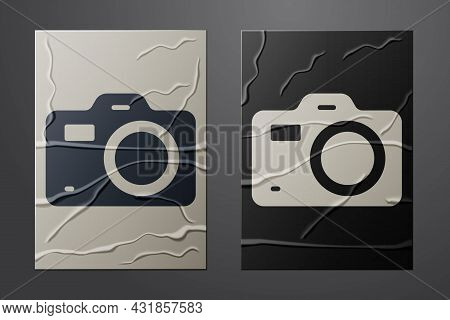 White Photo Camera Icon Isolated On Crumpled Paper Background. Foto Camera. Digital Photography. Pap