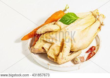 Whole Free-range Chicken Poultry. Organic Farm Food, Trendy Hard Light, Dark Shadow