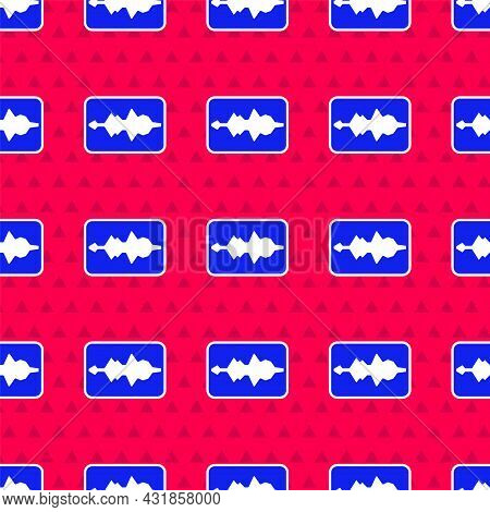 Blue Music Wave Equalizer Icon Isolated Seamless Pattern On Red Background. Sound Wave. Audio Digita
