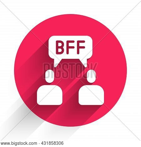 White Bff Or Best Friends Forever Icon Isolated With Long Shadow. Red Circle Button. Vector
