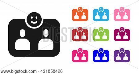 Black Friends Forever Icon Isolated On White Background. Everlasting Friendship Concept. Set Icons C