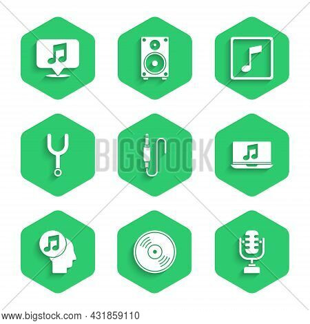 Set Audio Jack, Vinyl Disk, Microphone, Laptop With Music Note, Musical Human Head, Tuning Fork, Ton