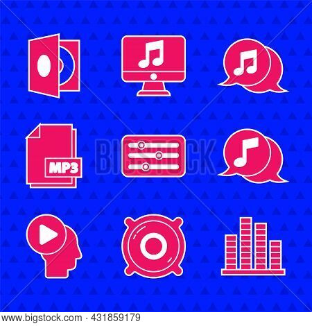 Set Sound Mixer Controller, Stereo Speaker, Music Equalizer, Musical Note In Speech Bubble, Head Peo