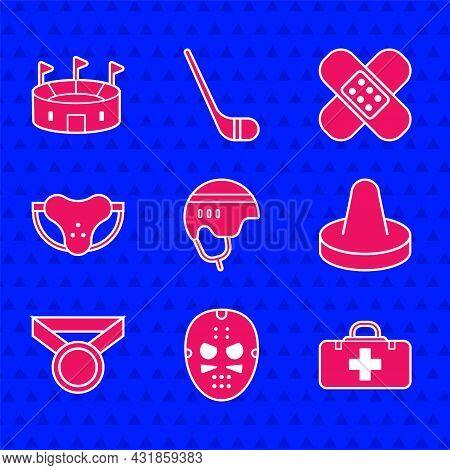 Set Hockey Helmet, Mask, First Aid Kit, Mallet For Playing Air Hockey, Medal, Protective Sport Jocks