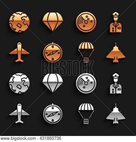 Set Compass, Pilot, Jet Fighter, Box Flying On Parachute, Plane, Radar With Targets Monitor, Worldwi