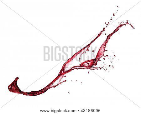 Red wine splash isolated on white background