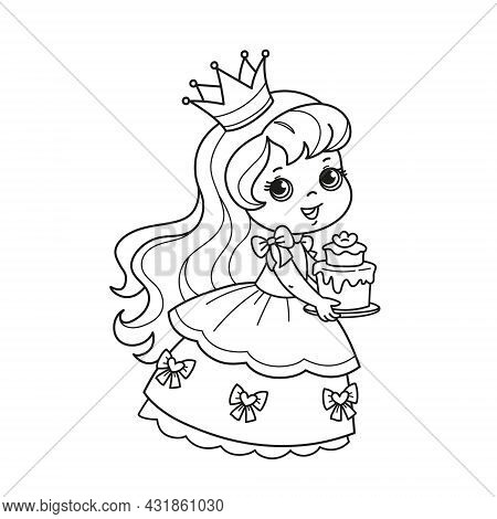 Cartoon Character Cute Little Princess In A Lush Beautiful Dress And Crown Holding A Cake. Coloring