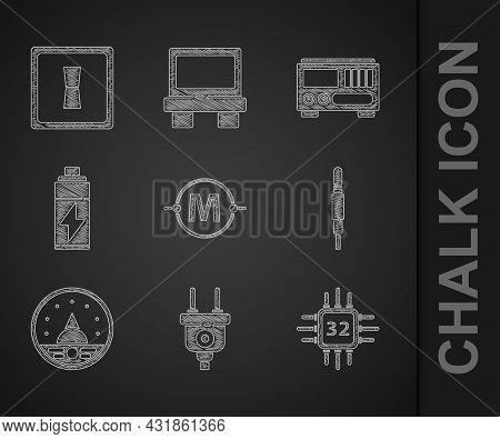 Set Electric Circuit Scheme, Plug, Processor With Microcircuits Cpu, Audio Jack, Ampere Meter, Multi