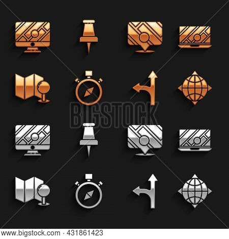 Set Compass, City Map Navigation, World Globe With Compass, Road Traffic Sign, Folded Push Pin, Info
