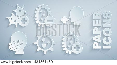 Set Virus, Man Coughing, Face Medical Protective Mask, Positive Virus, Negative And Icon. Vector