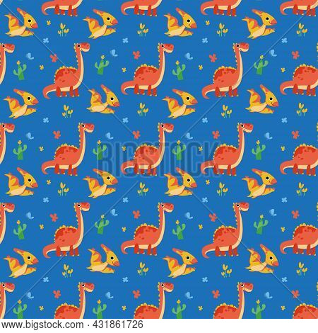 Seamless Pattern With Cute Cartoon Dinosaurs And Pterodactyls On A Bright Blue Background. Colorful