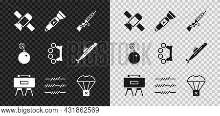 Set Satellite, Flashlight, Sniper Rifle With Scope, Military Mine, Barbed Wire, Box Flying On Parach