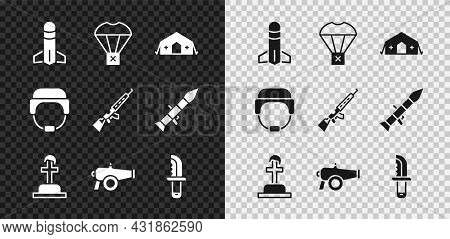 Set Rocket, Box Flying On Parachute, Military Medical Tent, Soldier Grave, Cannon, Knife, Helmet And