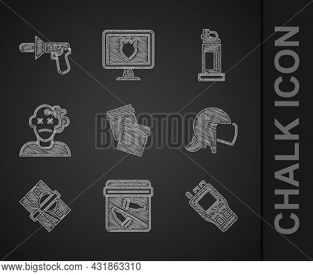 Set Plastic Bag With Ziplock, Evidence Bullet, Walkie Talkie, Police Helmet, Stacks Paper Money Cash