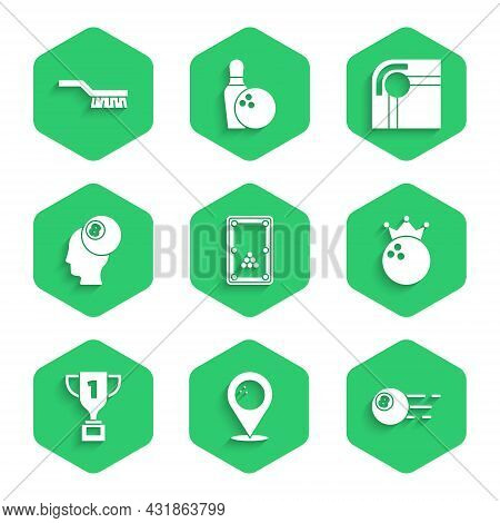 Set Billiard Table, Location With Bowling Ball, Bowling, Award Cup, And Pool Brush Icon. Vector