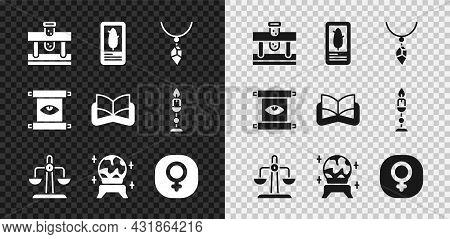 Set Bottle With Potion, Tarot Cards, Necklace Crystal, Libra Zodiac, Magic Ball, Venus, Ancient Magi
