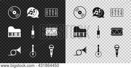 Set Vinyl Disk, Music Note, Tone, Sound Mixer Controller, Trumpet, Banjo, Microphone, Grand Piano An