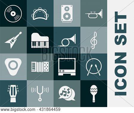 Set Maracas, Drum And Drum Sticks, Treble Clef, Stereo Speaker, Grand Piano, Electric Bass Guitar, V