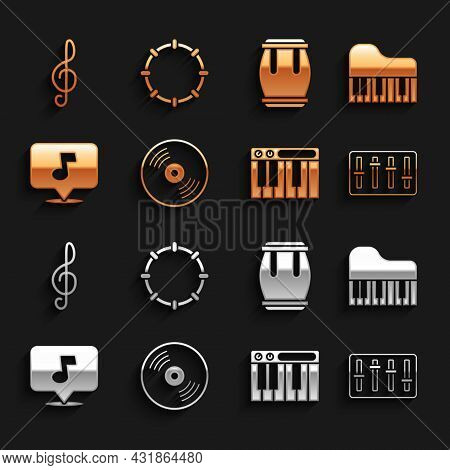 Set Vinyl Disk, Grand Piano, Sound Mixer Controller, Music Synthesizer, Note, Tone, Drum, Treble Cle