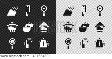 Set Knife, Meat Chopper, Frying Pan, Fried Eggs On Frying, Water Tap, Electric Kettle, Cooking Pot A