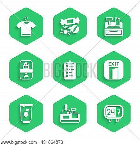 Set Shopping List, Cashier At Cash Register, Clock 24 Hours, Fire Exit, Yogurt Container, Fish Plast