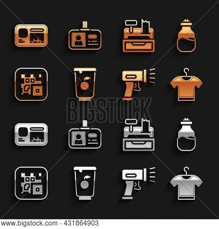 Set Yogurt Container, Can, T-shirt, Scanner Scanning Bar Code, Qr, Cash Register Machine, Identifica