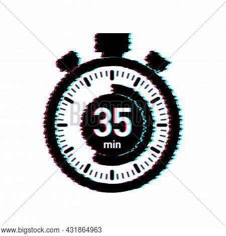 The 35 Minutes, Stopwatch Vector Glitch Icon. Stopwatch Icon In Flat Style, Timer On On Color Backgr
