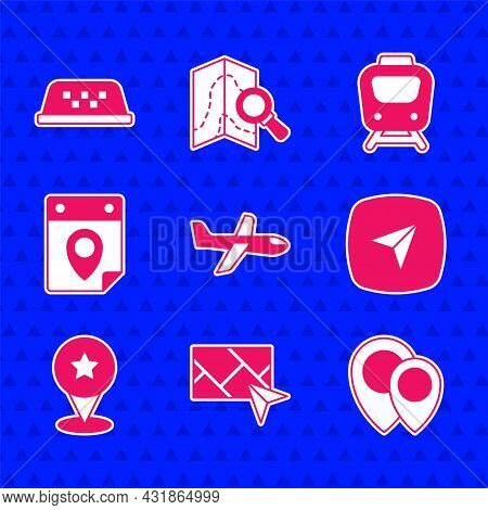 Set Plane, City Map Navigation, Location, Infographic Of City, Map Pointer With Star, Travel Plannin
