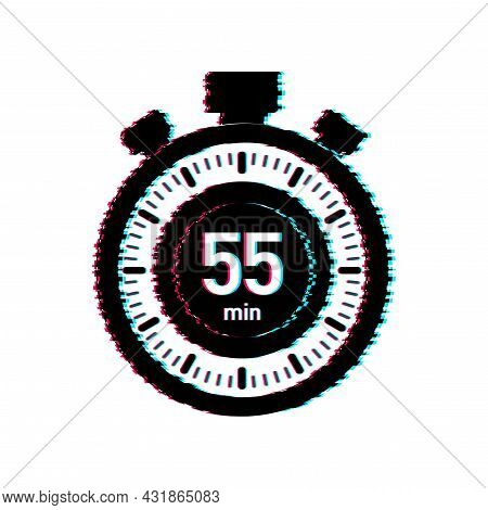 The 55 Minutes, Stopwatch Vector Glitch Icon. Stopwatch Icon In Flat Style, Timer On On Color Backgr