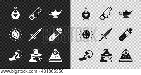 Set Bottle With Love Potion, Hand Saw, Magic Lamp Or Aladdin, Psilocybin Mushroom, Witch, Masons, St