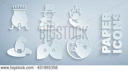 Set Mantle, Cloak, Cape, Hand Holding Fire, Witch Hat, Moon Stars, Magician And Cauldron Icon. Vecto