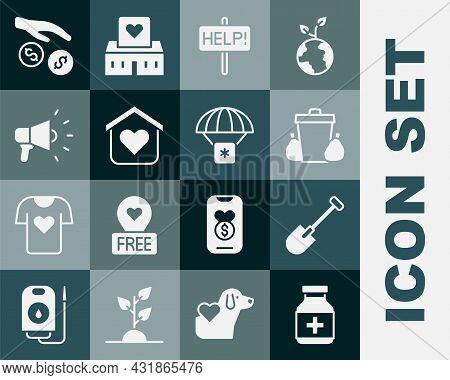 Set Medicine Bottle And Pills, Shovel, Trash Can, Help Sign, Shelter For Homeless, Megaphone, Donati