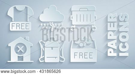 Set Hiking Backpack, Trash Can, No House, Donation Food, Cloud With Rain And Clothes Donation Icon.