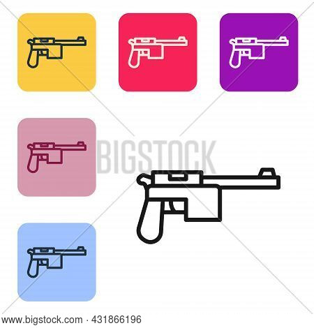 Black Line Mauser Gun Icon Isolated On White Background. Mauser C96 Is A Semi-automatic Pistol. Set