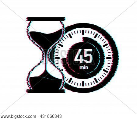 The 45 Minutes, Stopwatch Vector Glitch Icon. Stopwatch Icon In Flat Style, Timer On On Color Backgr