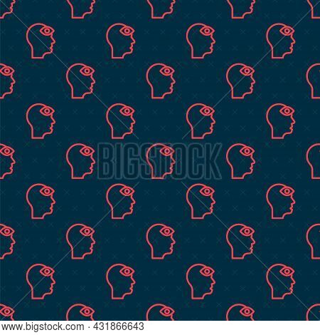 Red Line Man With Third Eye Icon Isolated Seamless Pattern On Black Background. The Concept Of Medit