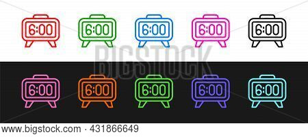 Set Line Digital Alarm Clock Icon Isolated On Black And White Background. Electronic Watch Alarm Clo