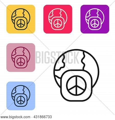 Black Line International Day Of Peace Icon Isolated On White Background. World Peace. Set Icons In C