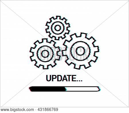 System Software Update Or Upgrade. Banner New Update, Glitch Icon. Vector Illustration.