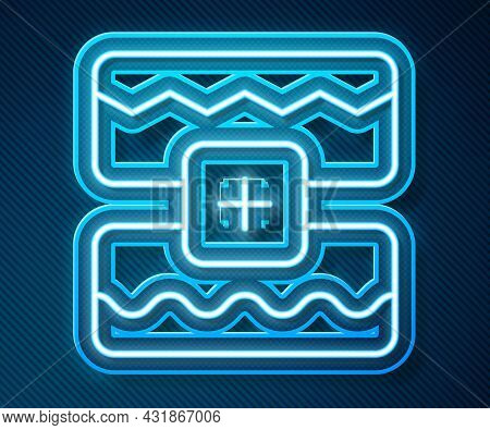 Glowing Neon Line Music Wave Equalizer Icon Isolated On Blue Background. Sound Wave. Audio Digital E