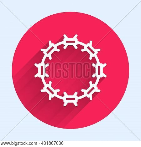 White Line Crown Of Thorns Of Jesus Christ Icon Isolated With Long Shadow. Religion, Bible, Christia