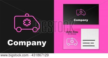 Pink Line Ambulance And Emergency Car Icon Isolated On Black Background. Ambulance Vehicle Medical E