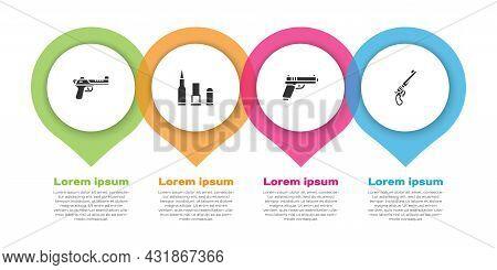Set Desert Eagle Gun, Bullet, Pistol Or And Revolver. Business Infographic Template. Vector